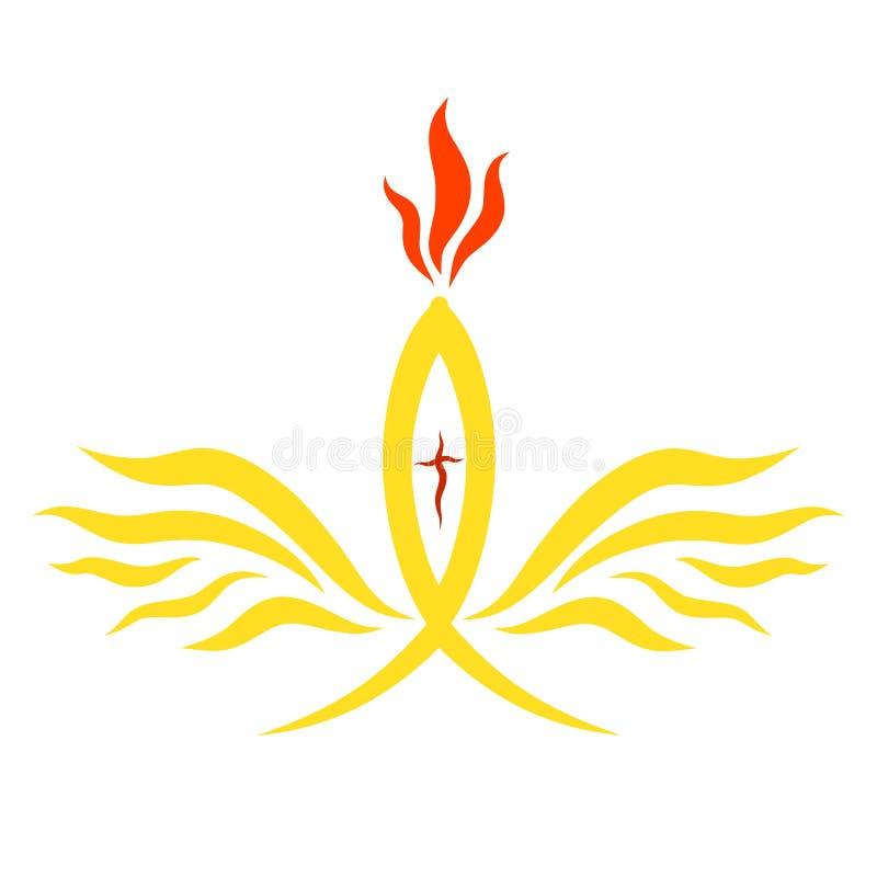 Simbolismo cristiano, pescados, llama, cruz y alas libre illustration