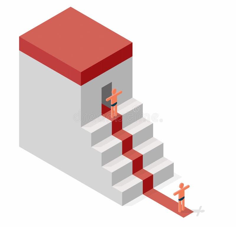 Simbolismo del benvenuto o della difesa Le figure umane stilizzate comunicano Casa di evocazione di forma del cubo di vettore illustrazione vettoriale