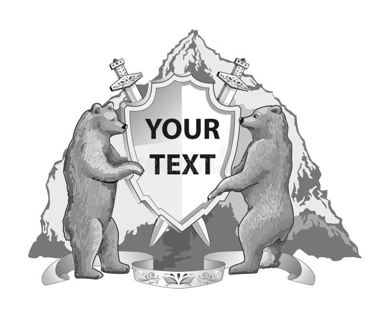 Simbolize a descrição dos ursos da montanha protegem a espada ilustração do vetor