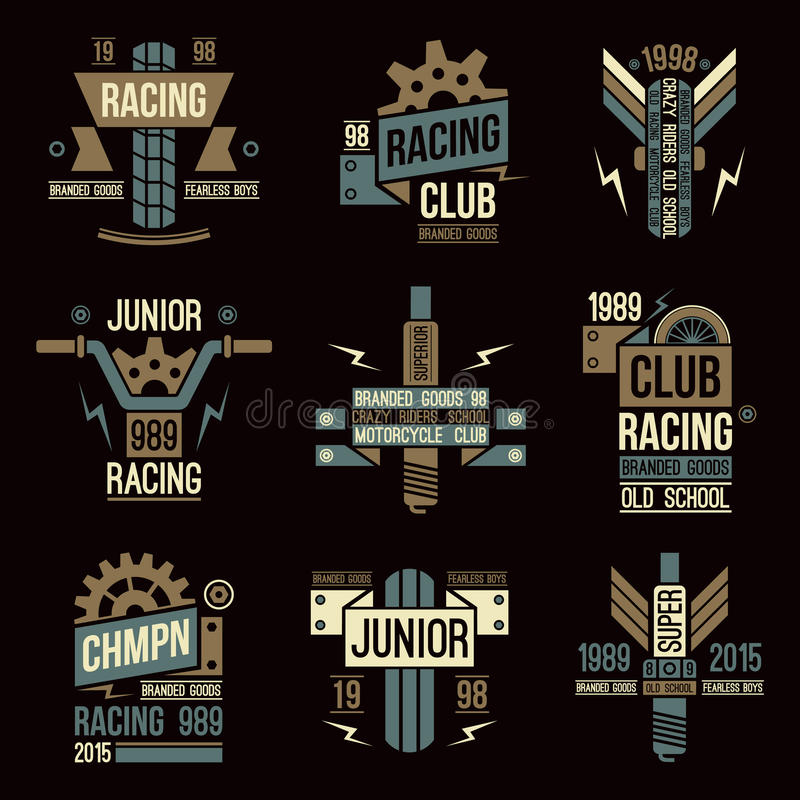 Simbolizza le corse del motociclo nel retro stile illustrazione di stock