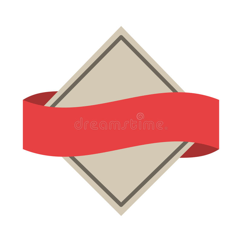 Simbolizzi araldico con forma del diamante e l'etichetta blu illustrazione di stock