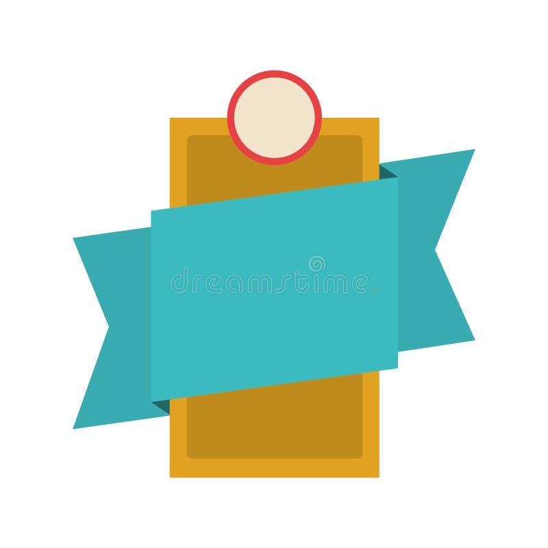 Simbolizzi araldico con forma di rettangolo e l'etichetta blu illustrazione di stock
