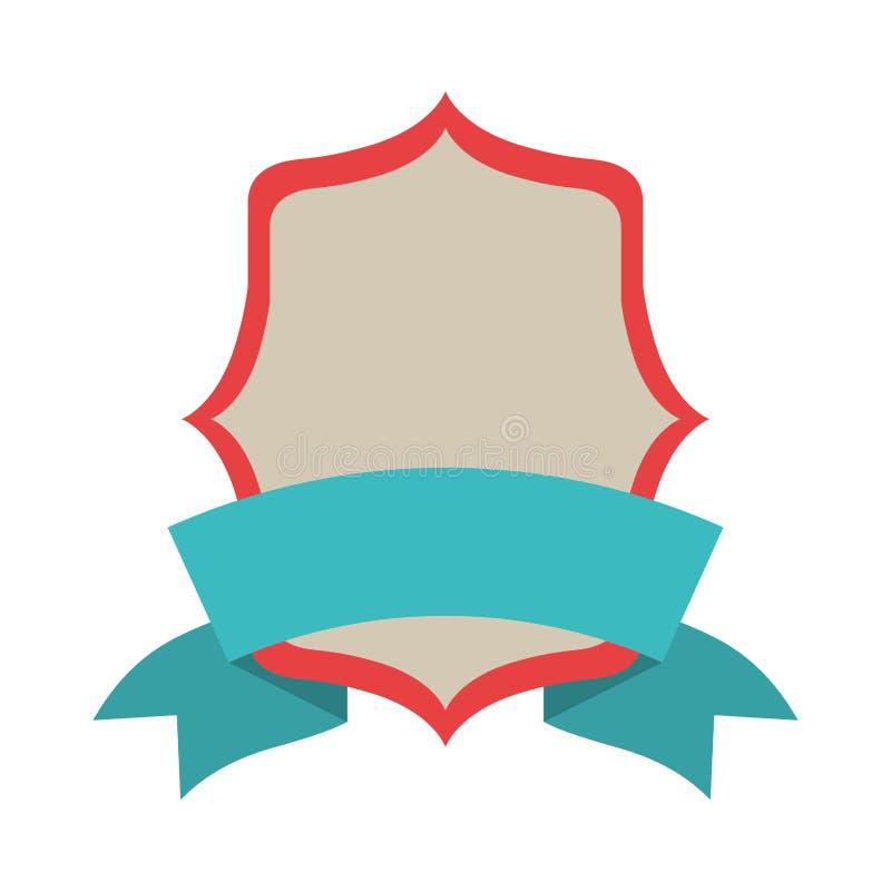 Simbolizzi araldico con l'etichetta blu ed il confine rosso royalty illustrazione gratis