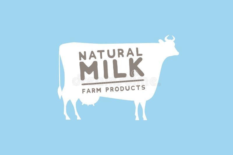 Simbolizzi il modello con la siluetta bianca della mucca contro il testo blu del campione e del fondo: latte e prodotti di fattor illustrazione vettoriale