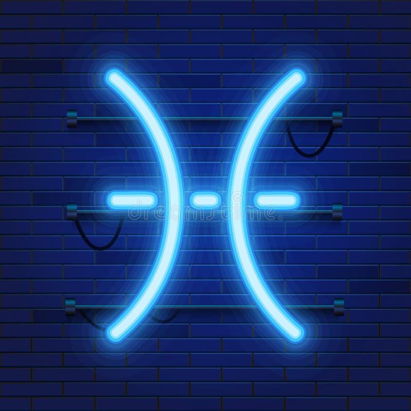 Simbolo al neon cosmico brillante blu di pesci dello zodiaco sul fondo del muro di mattoni Concetto di astrologia illustrazione vettoriale