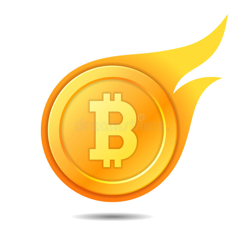 Simbolo ardente del bitcoin, icona, segno, emblema Illustrazione di vettore illustrazione di stock