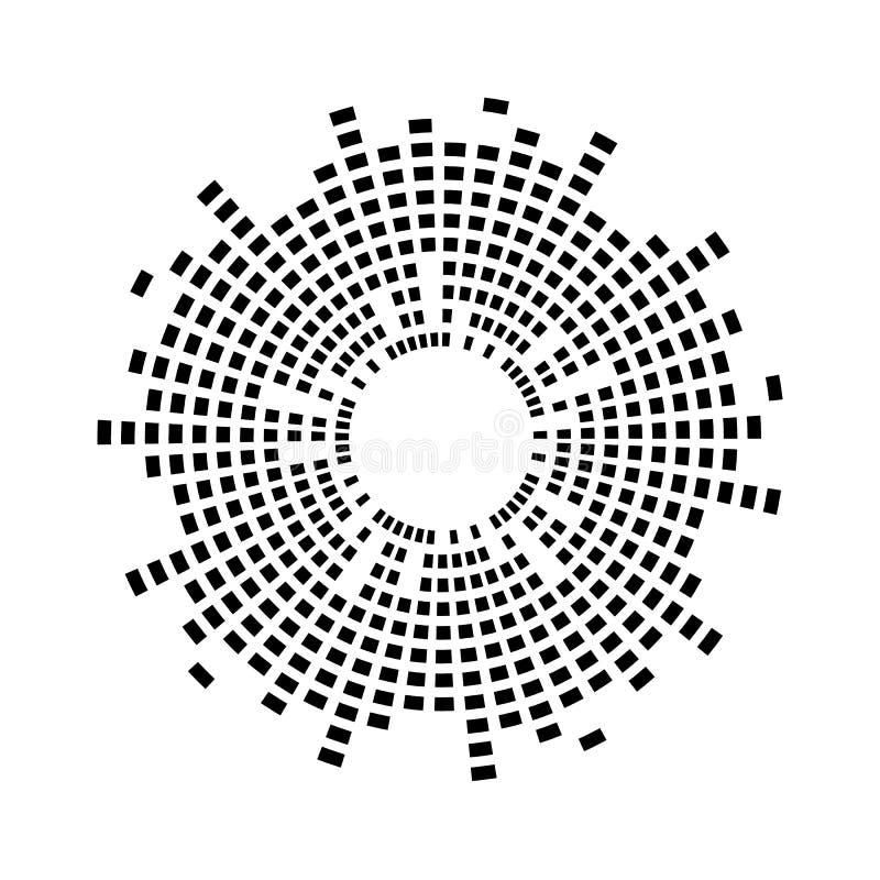 Simbolo astratto dell'icona di vettore del cerchio dell'onda sonora di musica dell'equalizzatore progettazione di logo, linea rot illustrazione vettoriale