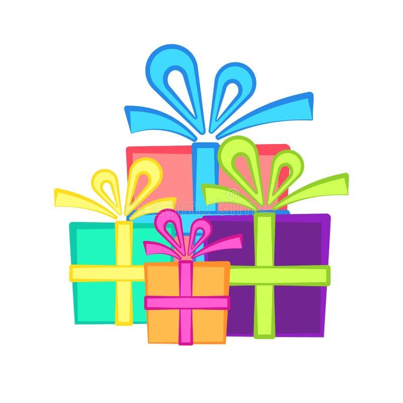 Simbolo attuale sveglio con i contenitori di regalo piani luminosi illustrazione di stock