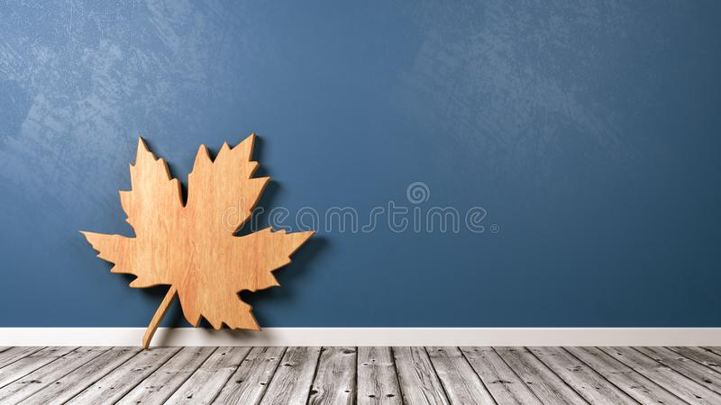 Simbolo autunnale della foglia nella stanza illustrazione di stock