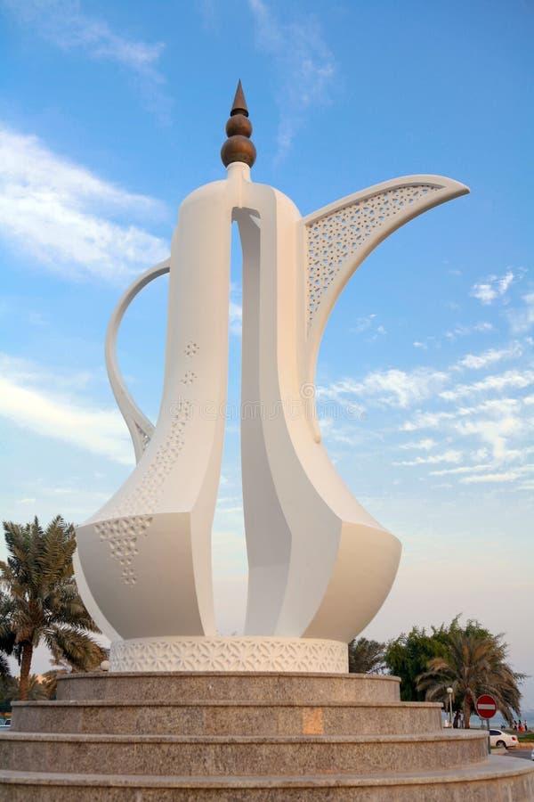 Simbolo benvenuto nel Qatar fotografia stock