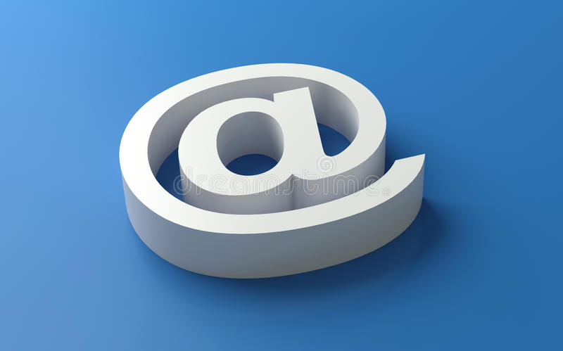 simbolo bianco del email 3d immagini stock