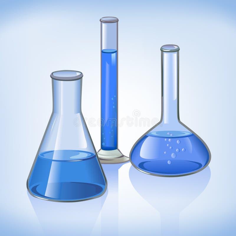 Simbolo blu della cristalleria delle boccette del laboratorio illustrazione di stock