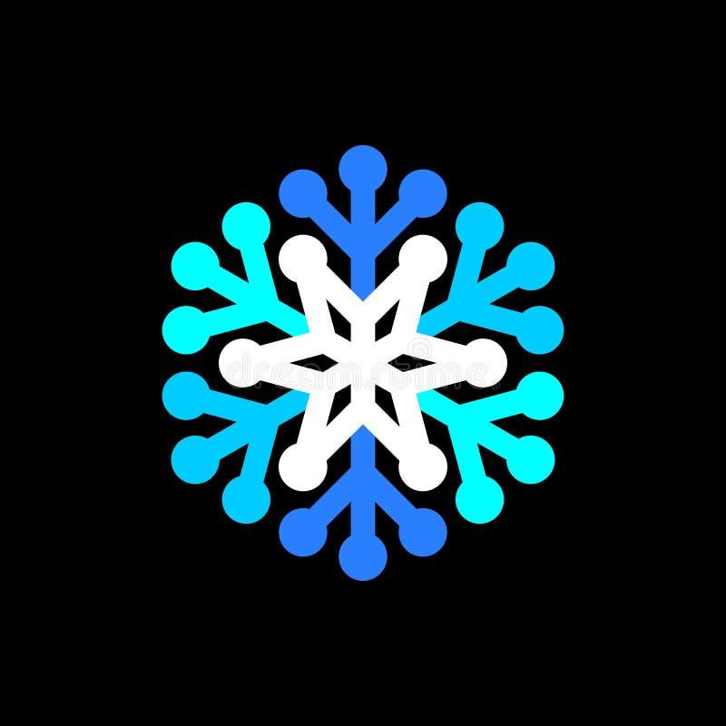 Simbolo blu e bianco del fiocco di neve su fondo nero illustrazione vettoriale