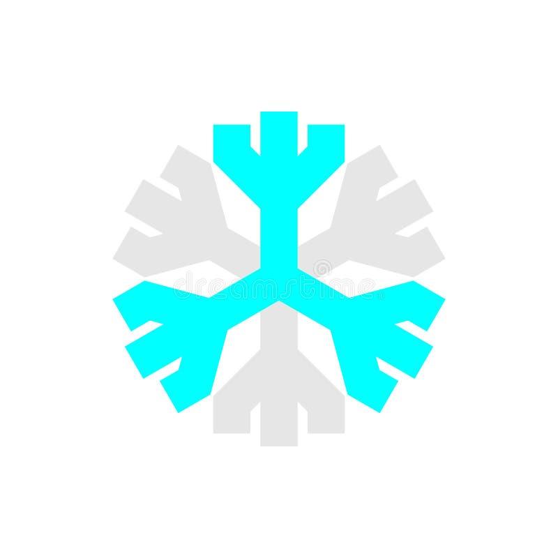 Simbolo blu e grigio del fiocco di neve su fondo bianco illustrazione vettoriale
