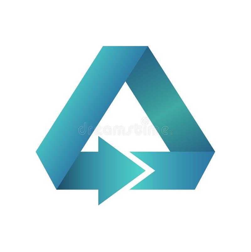 Simbolo blu o bottone dell'icona di forma del triangolo della freccia royalty illustrazione gratis