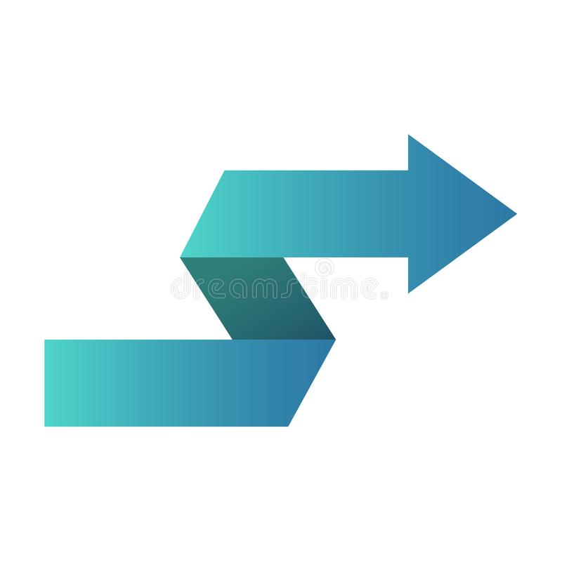 Simbolo blu o bottone dell'icona di zigzag della freccia illustrazione di stock