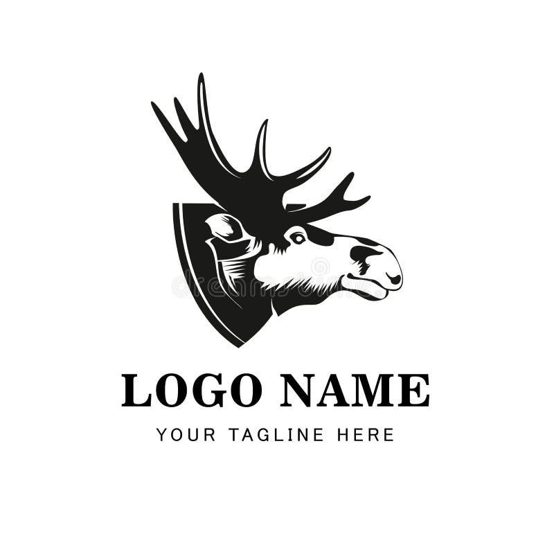 Simbolo capo delle alci Grande per l'icona Logo Design del segno dell'etichetta del distintivo Emblema degli alci di qualità Retr illustrazione di stock