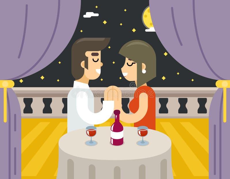 Simbolo caro del vino della cena dell'alimento della donna dell'uomo di datazione di sera di amore romantico di notte royalty illustrazione gratis
