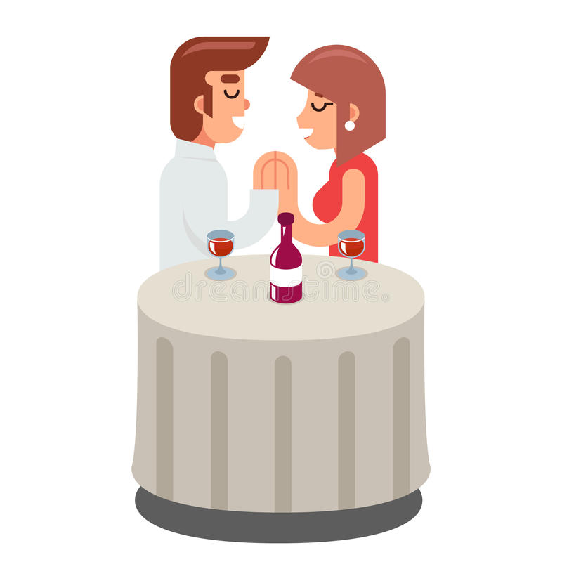 Simbolo caro romantico del vino della cena dell'alimento della donna dell'uomo di datazione illustrazione di stock