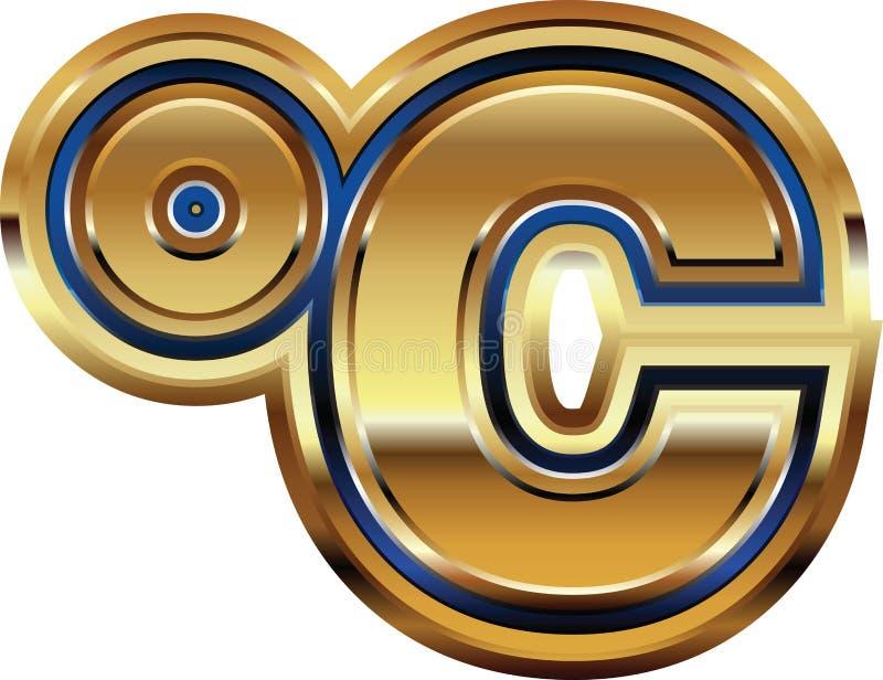 Simbolo centigrado dorato illustrazione di stock