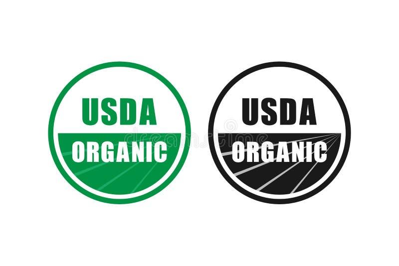 Simbolo certificato organico del bollo di usda nessun'icona di vettore del gmo royalty illustrazione gratis