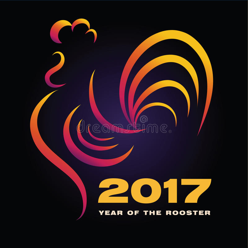 Simbolo cinese del gallo dell'oroscopo Si creativo del gallo del nuovo anno 2017 illustrazione di stock