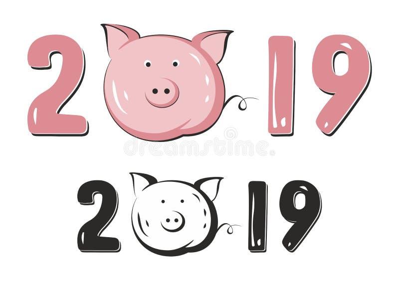 Simbolo cinese del maiale 2019 nuovi anni immagini stock libere da diritti