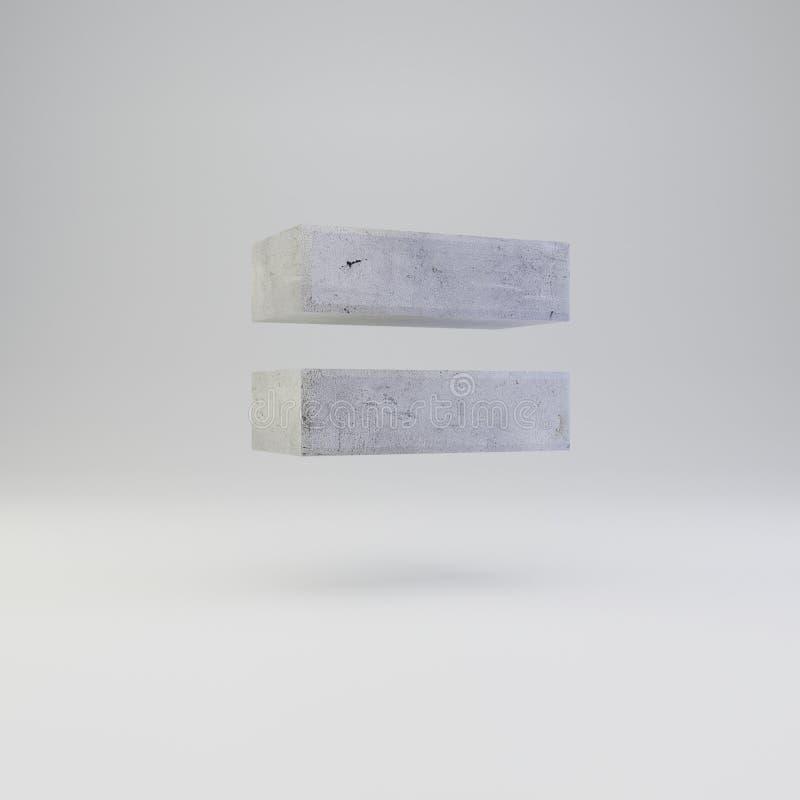 Simbolo concreto degli uguali con struttura del gesso su fondo bianco illustrazione vettoriale