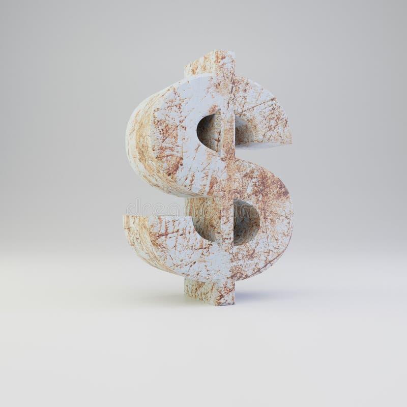 Simbolo concreto del dollaro con i graffi arrugginiti del metallo su fondo bianco royalty illustrazione gratis