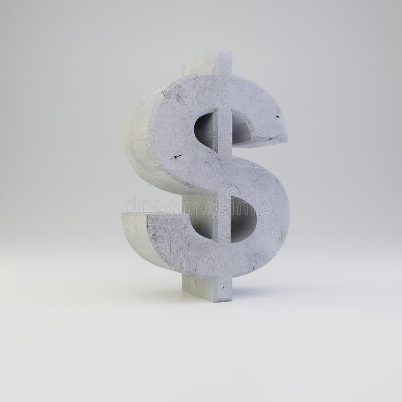 Simbolo concreto del dollaro con struttura del gesso isolata su fondo bianco illustrazione vettoriale