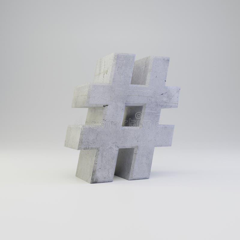 Simbolo concreto del hashtag con struttura del gesso isolata su fondo bianco illustrazione vettoriale