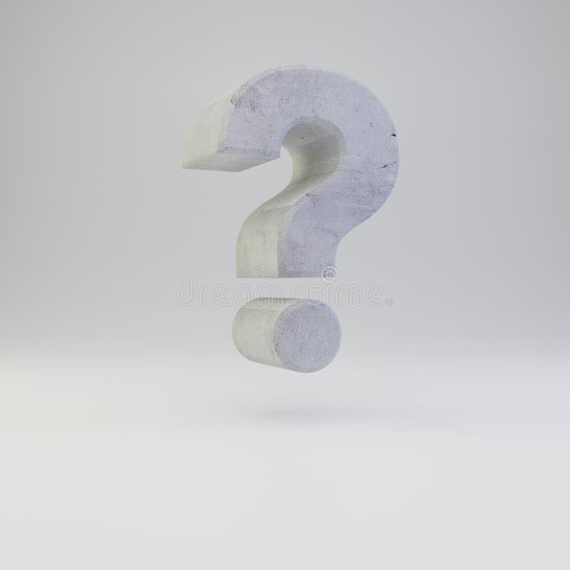 Simbolo concreto del punto interrogativo con struttura del gesso isolata su fondo bianco royalty illustrazione gratis