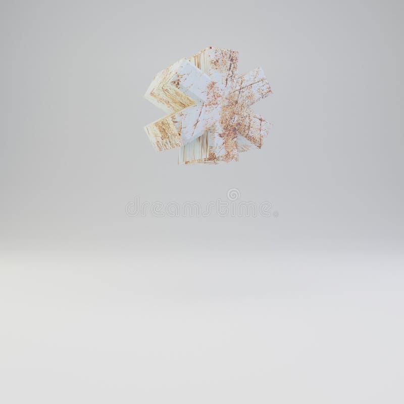 Simbolo concreto di nota a piè di pagina con i graffi arrugginiti del metallo su fondo bianco illustrazione vettoriale