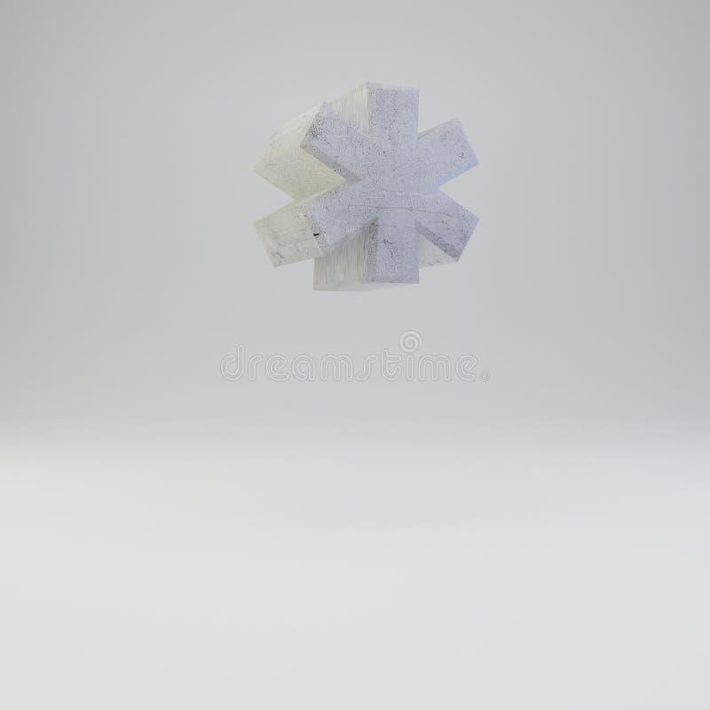 Simbolo concreto di nota a piè di pagina con struttura del gesso isolata su fondo bianco illustrazione di stock