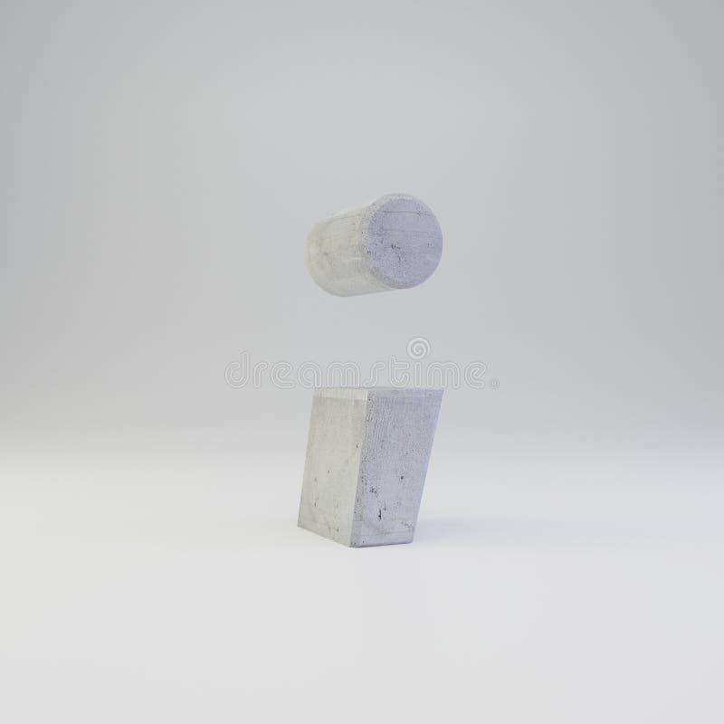 Simbolo concreto di punto e virgola con struttura del gesso isolata su fondo bianco illustrazione vettoriale