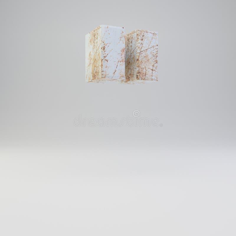 Simbolo concreto di virgolette con i graffi arrugginiti del metallo su fondo bianco royalty illustrazione gratis