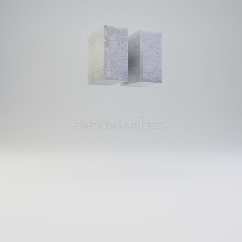 Simbolo concreto di virgolette con struttura del gesso su fondo bianco illustrazione di stock