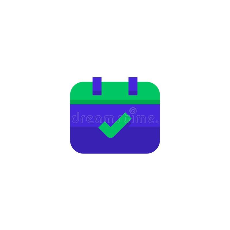 Simbolo controllato del calendario di evento della radura di progettazione dell'icona di programma di ordine del giorno vettore p illustrazione vettoriale