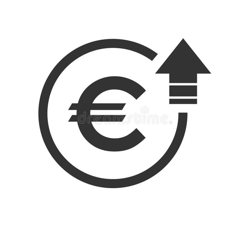 Simbolo costato euro icona di aumento Immagine di simbolo di vettore isolata su fondo royalty illustrazione gratis