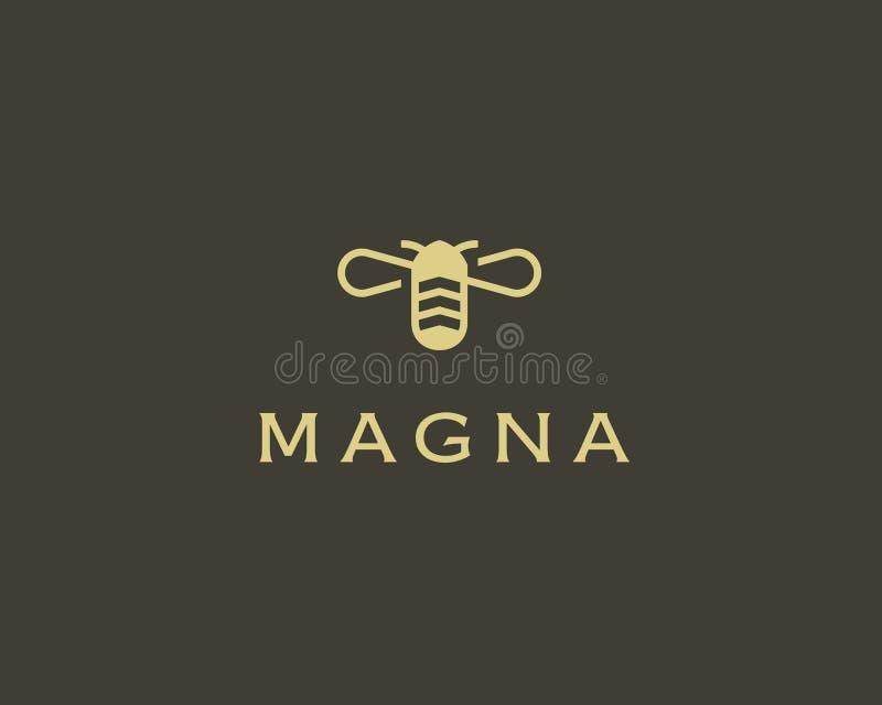 Simbolo creativo dell'icona di vettore del miele dell'ape Logotype del duro lavoro Progettazione di logo dell'alveare royalty illustrazione gratis