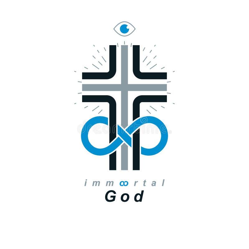 Simbolo creativo di vettore eterno di Dio combinato con il loop infinito e Christian Cross di infinito, logo di vettore o segno illustrazione di stock