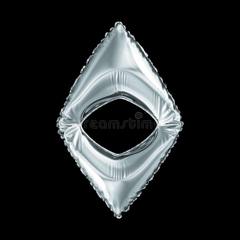Simbolo d'argento Ethereum fatto del pallone gonfiabile isolato su fondo nero royalty illustrazione gratis