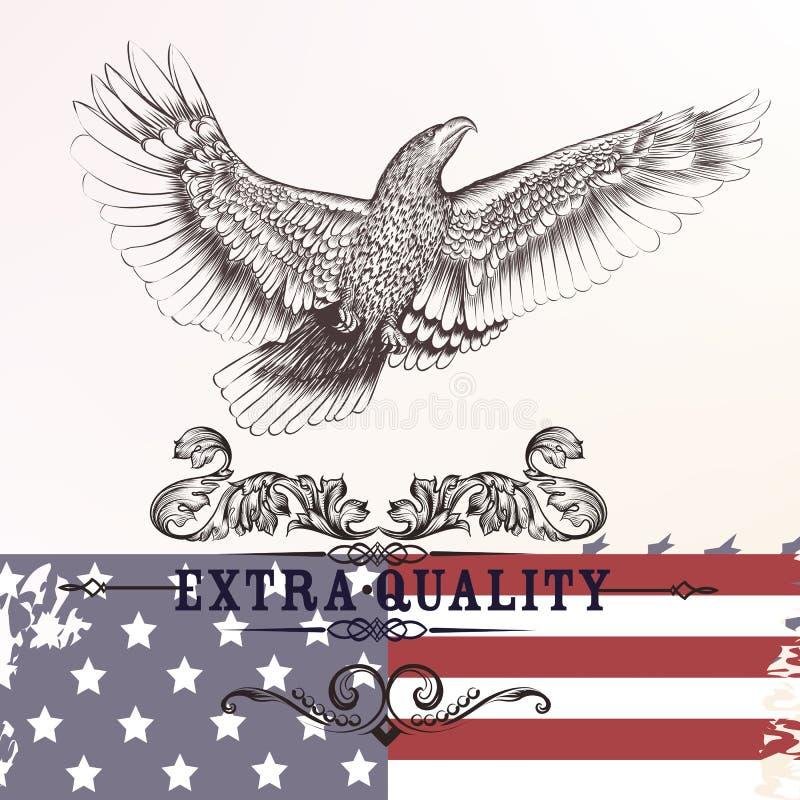Simbolo d'avanguardia della bandiera e dell'aquila di U.S.A. del fondo di modo illustrazione di stock