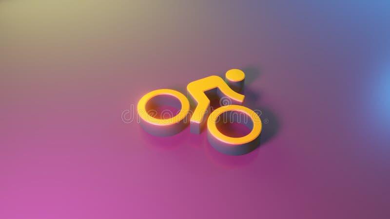 simbolo 3d della bici con l'icona del cavaliere rendere illustrazione vettoriale