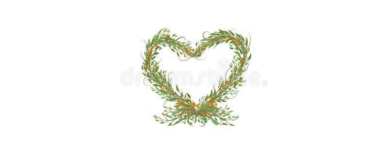 Simbolo decorativo del cuore dai rami e dalle foglie illustrazione vettoriale