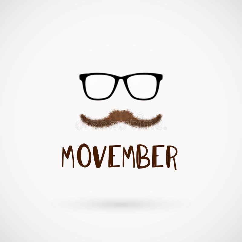 Simbolo dei baffi di mese di salute degli uomini di Movember illustrazione di stock