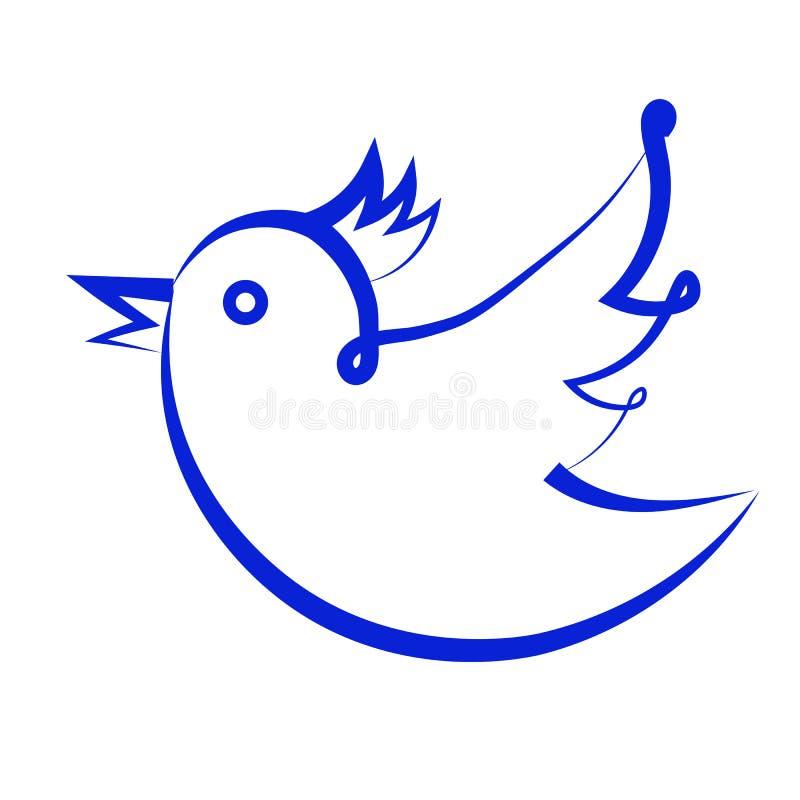 Simbolo dei media sociali, uccello illustrazione vettoriale