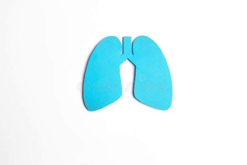 Simbolo dei polmoni su fondo bianco Giorno di tubercolosi di mondo fotografia stock