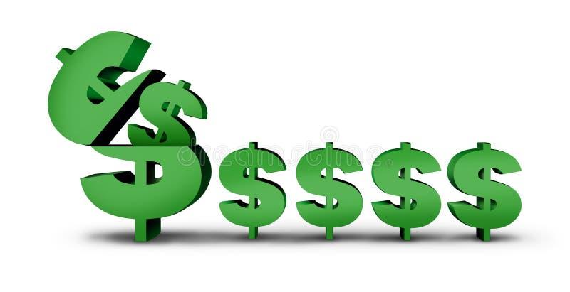 Simbolo dei soldi dei guadagni illustrazione vettoriale