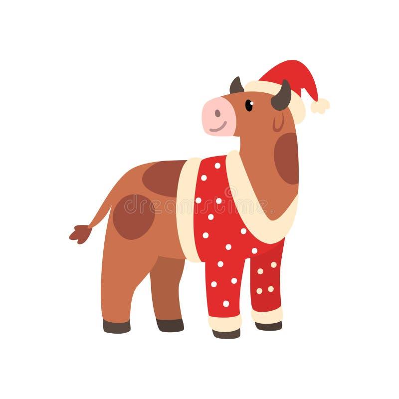 Simbolo del bue del nuovo anno, animale sveglio dell'oroscopo cinese nell'illustrazione di vettore del costume di Santa Claus su  illustrazione vettoriale